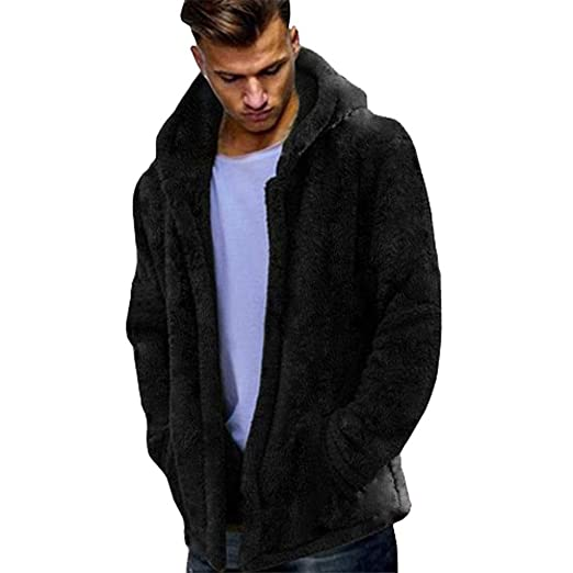 Theshy Fashion Mens Autumn Winter Casual Loose Double-Sided Plush Hoodie Tops Coat Mens Pullover