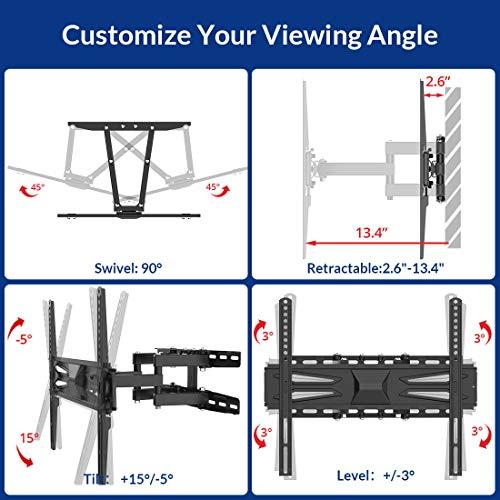 FLEXIMOUNTS A22 Full Motion Articulating TV Wall Mount Tilt Swivel Bracket Fit for 32-60 Inch 4k HD LED LCD Screens