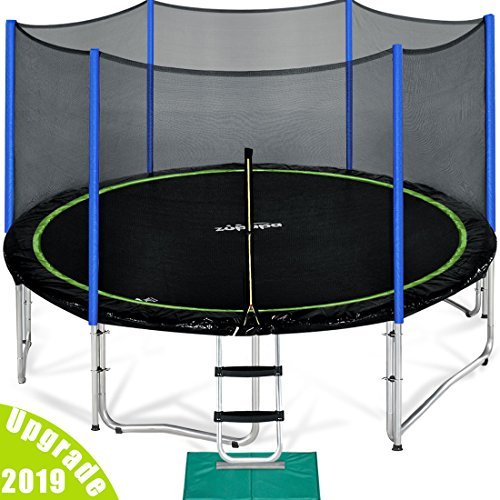 Zupapa 15 14 12 Ft TUV Approved Trampoline Enclosure Net Pole Safety Pad Ladder Jumping Mat Rain...