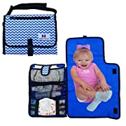 Diaper changing Pad - Luxury Clutch Portable Travel Mat for Baby - Easy Access Wipes! Washable! Blue and White Chevron