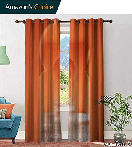 LQQBSTORAGE Custom Pattern Curtains Panels Abstract Blur Entry Arch in Architecture Morocco Style, Curtains Kids Bedroom, W84 x L96 Inch, (2 Panels) ()
