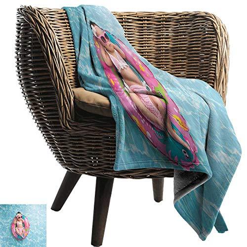 (Sillgt Fleece Blanket Throw Baby Nine Days Old Girl Sleeping on Tiny Inflatable Ring Crocheted Bikini Sunglasses car/Airplane Travel Throw 80