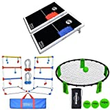 Bundle: GoSports CornHole PRO Regulation Size Bean Bag Toss Game Set (Black), GoSports Premium Ladder Toss Game (includes carrying case) and GoSports Slammo Game Set (Includes 3 Balls, Carrying Case and Rules)