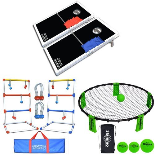 Bundle: GoSports CornHole PRO Regulation Size Bean Bag Toss Game Set (Black), GoSports Premium Ladder Toss Game (includes carrying case) and GoSports Slammo Game Set (Includes 3 Balls, Carrying Case and Rules) by GoSports