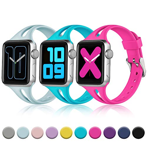 Zekapu Slim Band Compatible with Apple Watch 38mm 40mm for Women, Breathable Soft Silicone Thin Narrow Wristband for iWatch Series 4 3 2 1, S/M Hot Pink, Turquoise, Teal