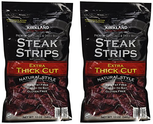 Kirkland Signature Premium Beef Steak Strips Jerky 12 Oz (2PAK)