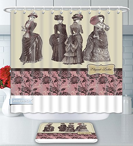 Aoreeo Bathroom Two-Piece Set Victorian Elegant Ladies Clothes Female Fashion History Dress Handbag Feather Gloves Floral Print Beige Dried Shower Curtain Bath Rug Set, 79