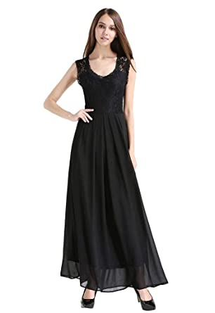 Buenos Ninos Womens Vintage Elegant Lace Floral Chiffon Sleeveless Prom Ball Gown Plunge Neckline Long Maxi
