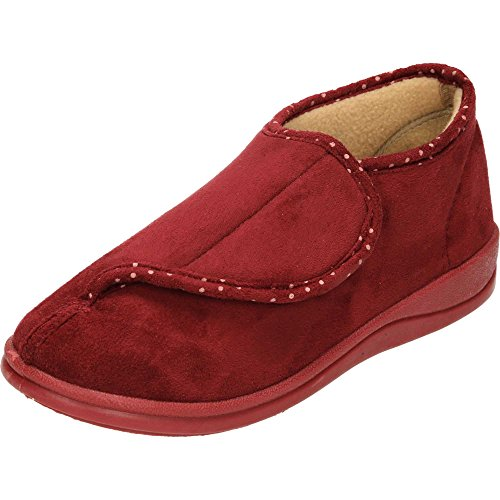 Dr Lightfoot Memory Foam Washable Rip Tape Slipper Boots Red