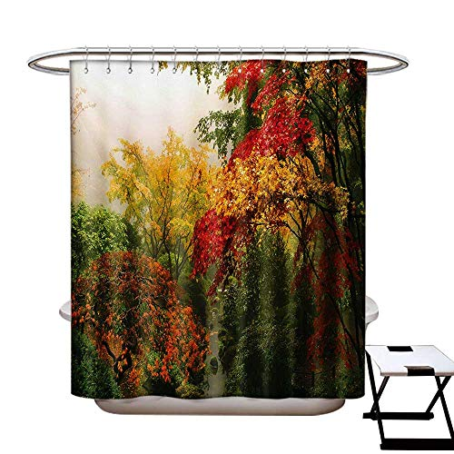 BlountDecor Garden Shower Curtains with Shower Hooks Maple Trees in The Fall at Portland Japanese Garden One Foggy Morning Scenery Fabric Bathroom Set with Hooks W54 x L78 Red Yellow Green ()