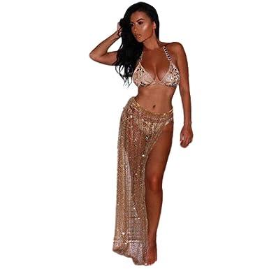 5f19250eea4 Lookatool Sheer Coverup Skirt Beach Cover up Bikini Sequins Swimwear Sarong  Swimsuit