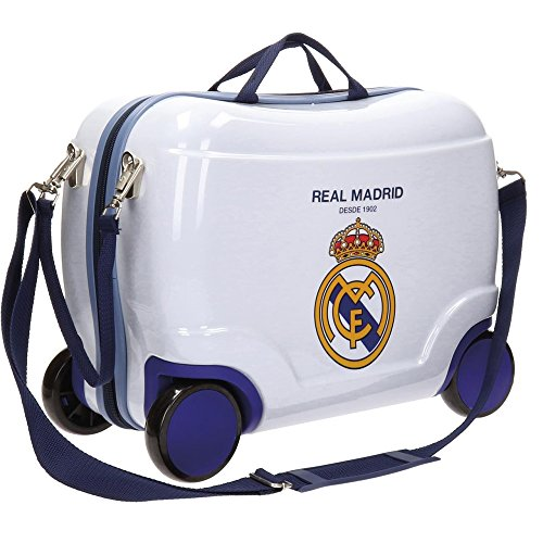 RM Real Madrid White Travel Garment Bags Trolley Rigid Rideable for Children Four Wheels
