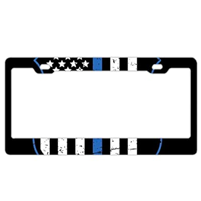 EXMENI Blue Lives Matter License Plate Frame Theft-Proof Frames Stainless Steel Board Frames: Automotive