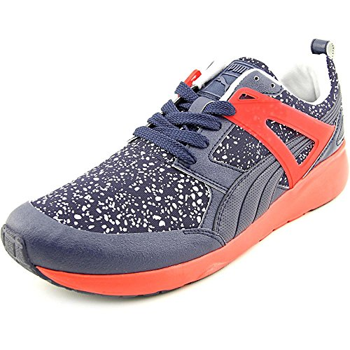 Puma Arial Splatter Mens Blue Red Textile Lace Up Sneakers Shoes 12 a5qjWC1wg