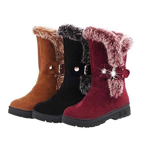 Stiefeletten Stiefel Gefüttert Snow Meedot Damen Schlupfstiefel Winter Frauen Schuhe Winterschuhe Boots Flach Outdoor Warm Rot Winterstiefel Halbschaft qAq8t7nH