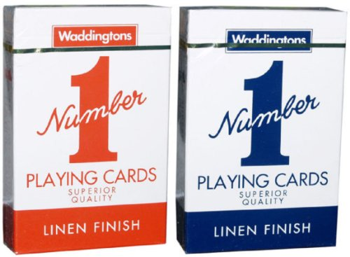 RED Waddingtons Playing Cards-LINEN FINISHED PLAYING CARDS by NUMBER 1
