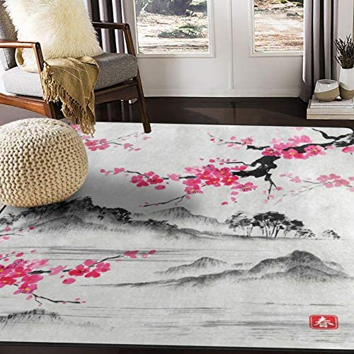 ALAZA Japanese Oil Painting Cherry Blossom Flower Area Rug Rug