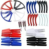 AVAWO Upgraded 4 Colors Syma X5SC X5SW X5SW-V3 Spare Parts Main Blade Propellers & Motor & Propeller Protectors Blades Frame & Landing Skid Included Mounting Screws for RC Mini Quadcopter Toy