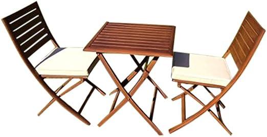 UK-Gardens Reducido Lujo 3 Piezas Plegable jardín Bistro Set para 2 Mesa y sillas con Cojines – Metal, Aluminio, Madera Efecto Cero Mantenimiento jardín Juego de Comedor Patio Que No Se oxida: