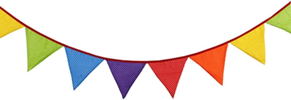 Weisin Color Wave Point Bunting Geometric Triangle Reusable Hanging Banner Color Pattern Print Christmas Birthday Party Hanging Accessories