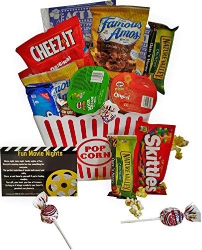 - Movie Night Gift Basket Ultimate Care Package with lots of Premium Candy Cookies Popcorn and Snacks in a Cool Retro Nostalgic Plastic Bucket & Kinayto