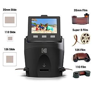 KODAK SCANZA Digital Film & Slide Scanner – Converts 35mm, 126, 110, Super 8 & 8mm Film Negatives & Slides to JPEG – Includes Large Tilt-Up 3.5″ LCD, Easy-Load Film Inserts, Adapters & More