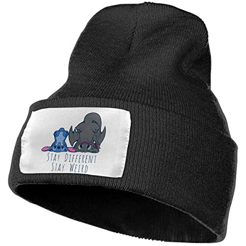 Unisex Winter Hats Funny Toothless Dragon and Stitch Skull Caps Knit Hat Cap Beanie Cap for Men/Womens