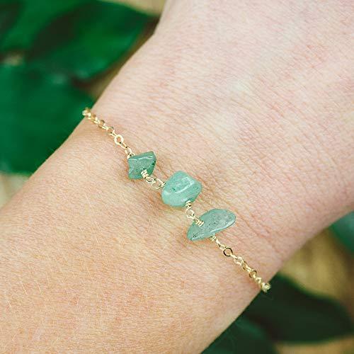 (Aventurine beaded chain crystal bracelet in 14k gold fill - 6