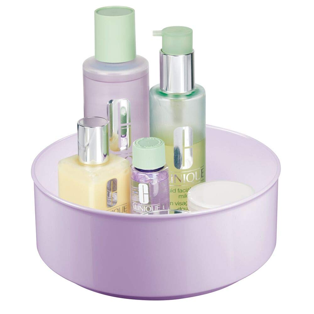 mDesign Plastic Spinning Lazy Susan Round Turntable Storage Tray – Rotating Organizer for Makeup, Cosmetics, Nail Polish, Vitamins, Shaving Kits, Hair Spray, Medical Supplies, First Aid – Light Purple