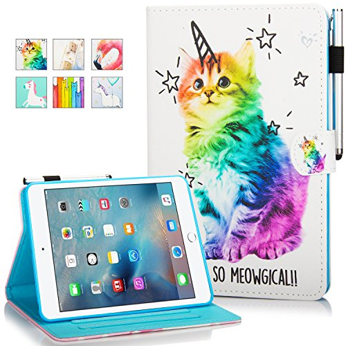 (iPad Mini Case,Mini 2/3/4 Case - Monstek Leather Smart Kickstand Case Cover Colorful Flip Wallet Protective Case for Apple iPad Mini 1 2 3 4-03 Shiny Cat)