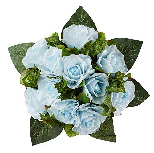 Light Blue Silk Rose Nosegay - Silk Bridal Wedding Bouquet (Nosegay Bouquet Bridal)