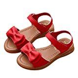 Sandals for 1-9 Years Old Girls, Fashion Children Kids Infant Girls Bowknot Sandals Non-Slip Princess Casual Beach Shoes (UK:10, Red)