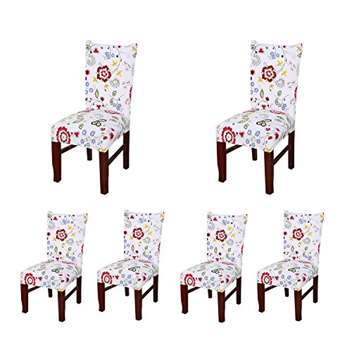 SoulFeel Set of 6 x Stretchable Dining Chair Covers, Spandex Chair Seat Protector Slipcovers for Holiday Banquet, Home Party, Hotel, Wedding Ceremony (Style 37, Floral) from SoulFeel