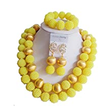 laanc Fashion 2 Rows Nigerian Wedding African Beads Jewelry Sets Ball Gold and Golden Plastic Pearl A-014