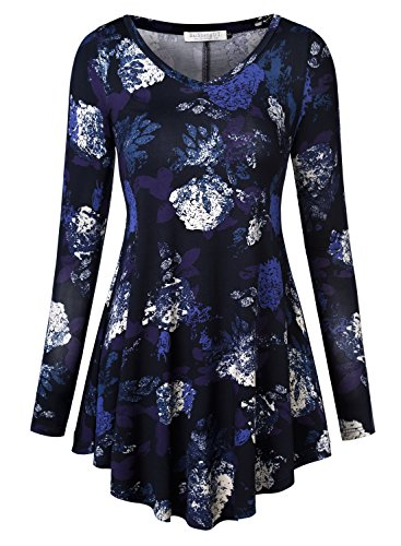 Baishenggt Womens Loose Fit Flared Tunic Top Large T06 Dark Blue
