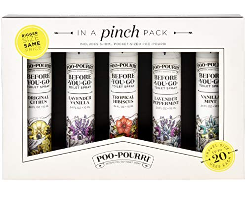 Poo-Pourri in A Pinch Pack Toilet Spray Gift Set, 5 Pack 10 mL, 1.4 Ounce Original Bottle and Bottle Tag Included by Poo-Pourri (Image #1)