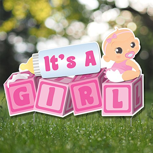 """Girl Yard Sign - VictoryStore Yard Sign Outdoor Lawn Decorations, """"It's a Girl!, Die Cut Baby Blocks, Baby Announcement Yard Sign - (Light Skin Tone Baby)"""