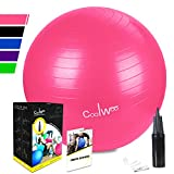 Exercise Ball, Yoga Ball (75cm Pink), Anti Burst for Pilates, Balance, Fitness & Stability with Manual Pump by Coolwoo