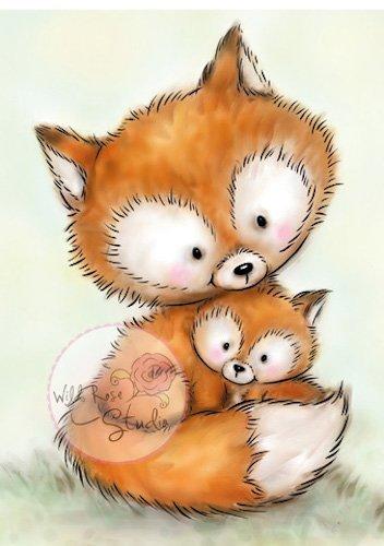 Mummy Fox & Baby<br>3.5x3<br>Clear- <b>Block Not Included</b>