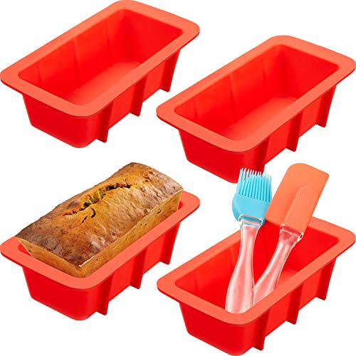 (Mini Loaf Pan Set, include 4 Pieces Silicone Bread Loaf Pan Baking Mold, Silicone Brush and Silicone Basting Spatula for Homemade Cakes, Bread, Meatloaf)