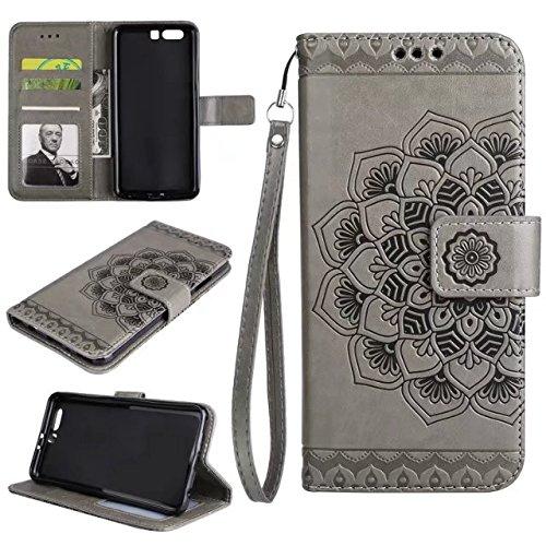 YAJIE-Carcasa Funda Para Huawei P10 Plus en relieve medio diseño de flores [correa de muñeca] Premium PU cuero cartera bolsa Flip Stand caso ( Color : Purple ) Gray