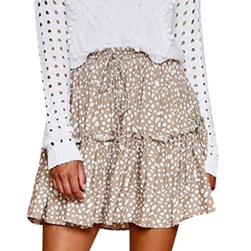 - Fshinghing Bohemian Mini Skirt for Womens Soft Printing High Waist Lace-up Short Skirt Beach Party A Line Skirt Khaki