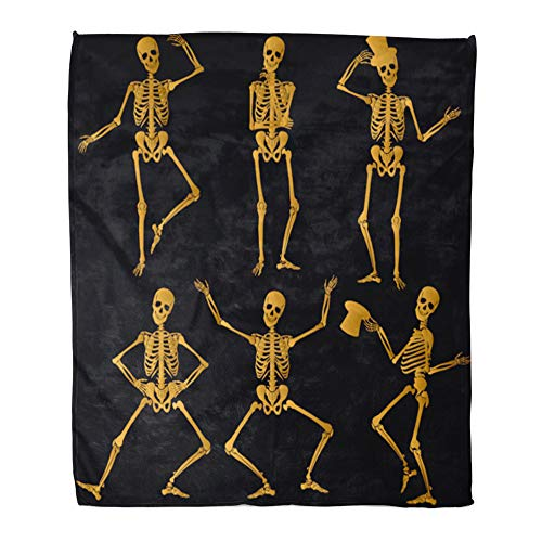 Emvency Throw Blanket Warm Cozy Print Flannel Dance Dancing Golden Skeletons Funny Skull Spine Comfortable Soft for Bed Sofa and Couch 60x80 Inches -