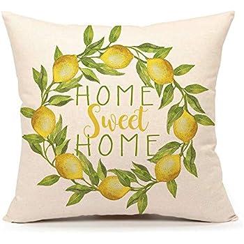 4TH Emotion Home Sweet Home Lemon Wreath Throw Pillow Cover Summer Farmhouse Cushion Case for Sofa Couch 18 x 18 Inches Cotton Linen