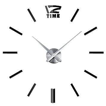 zhang-hongjun, Ligero y Claro Grande DIY Reloj de Pared 3D Efecto Espejo Pegatinas decoración para el hogar(Color:Negro): Amazon.es: Hogar