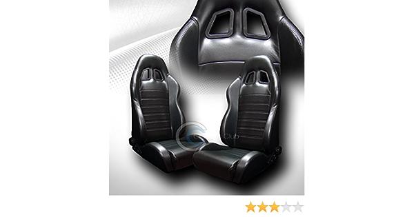 HS Power 2 Universal Sp Sport Black Suede Leather Reclinable Racing Bucket Seats+Slider C02