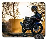 Rectangle Non-slip Rubber Mouse Pad(9.45x7.8x0.12 Inches) Motorcycle Bike Engine Road Sunset Helmet
