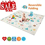 Baby Play Mat | BPA Free Non-Toxic Foam Folding Baby Care Playmat 78.7' x 70.8' 0.4' Thick Extra Large Reversible Crawling Mat Portable Toddlers Kids Waterproof Non-Slip Outdoor (Love of Elphant)