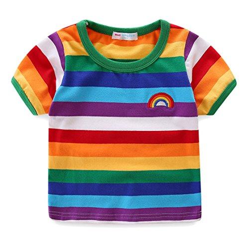 UWEAPRING Boy's Trendy Colorful Stripe Rainbow T-shirts Summer Tees Tops 6T