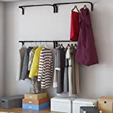 Brightmaison Adjustable Double Hanging Closet Bar Rail Organization System Durable Steel Construction Buyer Receives 4 Bars (Black)